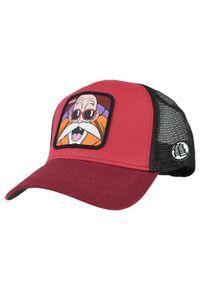 Czerwona czapka z daszkiem CapsLab w kolorowe wzory