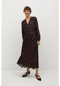 mango - Mango - Sukienka CALVIN. Kolor: czarny. Materiał: tkanina. Długość rękawa: długi rękaw. Typ sukienki: rozkloszowane