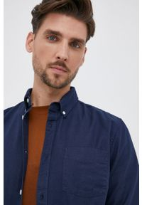 GAP - Koszula. Typ kołnierza: button down. Kolor: niebieski. Materiał: tkanina