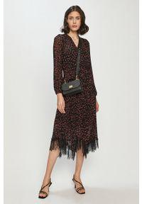 Wielokolorowa sukienka DKNY z długim rękawem, casualowa