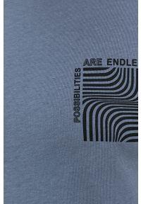 !SOLID - T-shirt bawełniany. Okazja: na co dzień. Kolor: fioletowy. Materiał: bawełna. Wzór: nadruk. Styl: casual