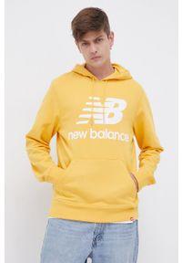 New Balance - Bluza. Typ kołnierza: kaptur. Kolor: żółty. Materiał: dzianina. Wzór: nadruk