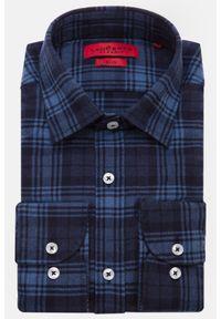 Lancerto - Koszula Niebieska w Kratę Melissa. Kolor: niebieski. Materiał: bawełna, tkanina, jeans. Wzór: haft. Styl: sportowy
