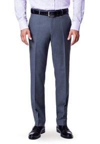 Lancerto - Spodnie Business Mix Szary. Kolor: szary. Materiał: wełna, tkanina, poliester. Styl: klasyczny