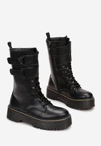Born2be - Czarne Botki Dhysney. Nosek buta: okrągły. Zapięcie: rzepy. Kolor: czarny. Szerokość cholewki: normalna. Wzór: jednolity. Styl: rockowy