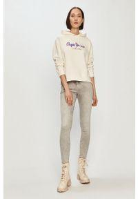 Biała bluza Pepe Jeans na co dzień, z długim rękawem, z nadrukiem