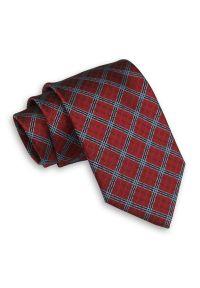 Ciemny Czerwony Męski Krawat -Chattier- 7,5cm, Klasyczny, Szeroki, Elegancki, w Kratkę. Kolor: czerwony. Materiał: tkanina. Wzór: kratka. Styl: klasyczny, elegancki