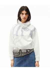 Kenzo - KENZO - Biała bluza z grafiką. Kolor: biały. Materiał: bawełna. Długość rękawa: długi rękaw. Długość: długie. Wzór: aplikacja, nadruk