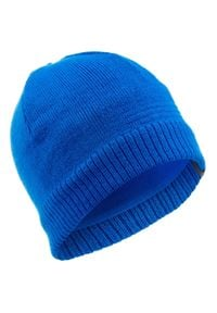 WEDZE - Czapka narciarska PURE dla dzieci. Kolor: niebieski. Materiał: poliester, elastan, akryl, materiał. Styl: klasyczny