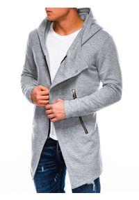 Ombre Clothing - Bluza męska rozpinana z kapturem B668 HUGO - szara - XXL. Typ kołnierza: kaptur. Kolor: szary. Materiał: bawełna, poliester. Styl: klasyczny, elegancki