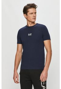 EA7 Emporio Armani - T-shirt. Okazja: na co dzień. Kolor: niebieski. Materiał: dzianina. Wzór: nadruk. Styl: casual