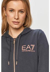 Niebieska bluza rozpinana EA7 Emporio Armani z kapturem, z nadrukiem, na co dzień, casualowa