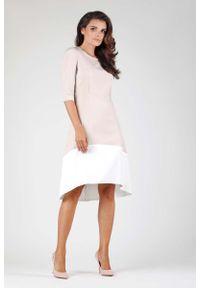 Nommo - Beżowa Wyjściowa Asymetryczna Sukienka z Kontrastowym Dołem. Kolor: beżowy. Materiał: wiskoza, poliester. Typ sukienki: asymetryczne. Styl: wizytowy
