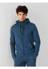 4f - Bluza dresowa rozpinana z kapturem męska. Okazja: na co dzień. Typ kołnierza: kaptur. Kolor: niebieski. Materiał: dresówka. Styl: casual