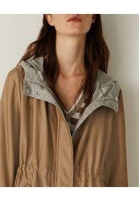 Marella - MARELLA - Beżowa parka z kapturem Gambero. Typ kołnierza: kaptur. Kolor: beżowy. Materiał: tkanina, jeans, jersey. Długość rękawa: długi rękaw. Długość: długie #5