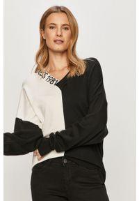 Czarny sweter Guess z długim rękawem, casualowy, na co dzień