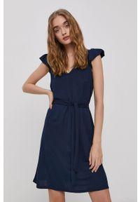 Vila - Sukienka. Kolor: niebieski. Materiał: tkanina. Długość rękawa: krótki rękaw. Wzór: gładki. Typ sukienki: rozkloszowane