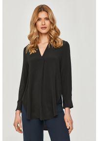 Czarna bluzka na co dzień, z długim rękawem, gładkie, elegancka