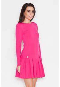 Różowa sukienka Katrus casualowa, z długim rękawem, na co dzień