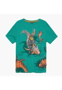 Cropp - Koszulka z nadrukiem - Turkusowy. Kolor: turkusowy. Wzór: nadruk
