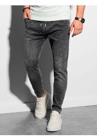 Ombre Clothing - Spodnie męskie joggery P1057 - grafitowe - XXL. Kolor: szary. Materiał: elastan, bawełna