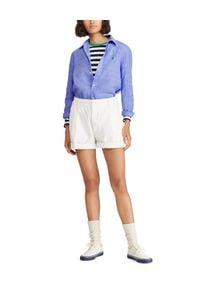 Ralph Lauren - RALPH LAUREN - Koszula z lnu Relaxed Fit. Typ kołnierza: polo. Kolor: niebieski. Materiał: len. Długość rękawa: długi rękaw. Długość: długie. Wzór: haft. Styl: klasyczny #6