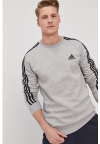Szara bluza nierozpinana Adidas bez kaptura, casualowa, z aplikacjami, na co dzień