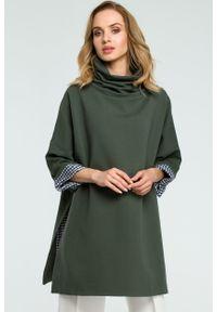 e-margeritka - Elegancka bawełniana bluza z golfem khaki - uni. Typ kołnierza: golf. Kolor: brązowy. Materiał: bawełna. Długość: długie. Sezon: jesień, zima. Styl: elegancki