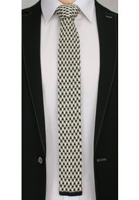 Stylowy, Dziergany Krawat Męski Knit -5,5cm- Chattier, Granatowo-Żółty. Kolor: wielokolorowy. Materiał: poliester. Styl: elegancki