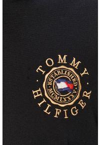 Czarna koszulka polo TOMMY HILFIGER z aplikacjami, krótka, polo
