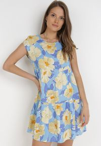 Born2be - Niebieska Sukienka Taphissis. Kolor: niebieski