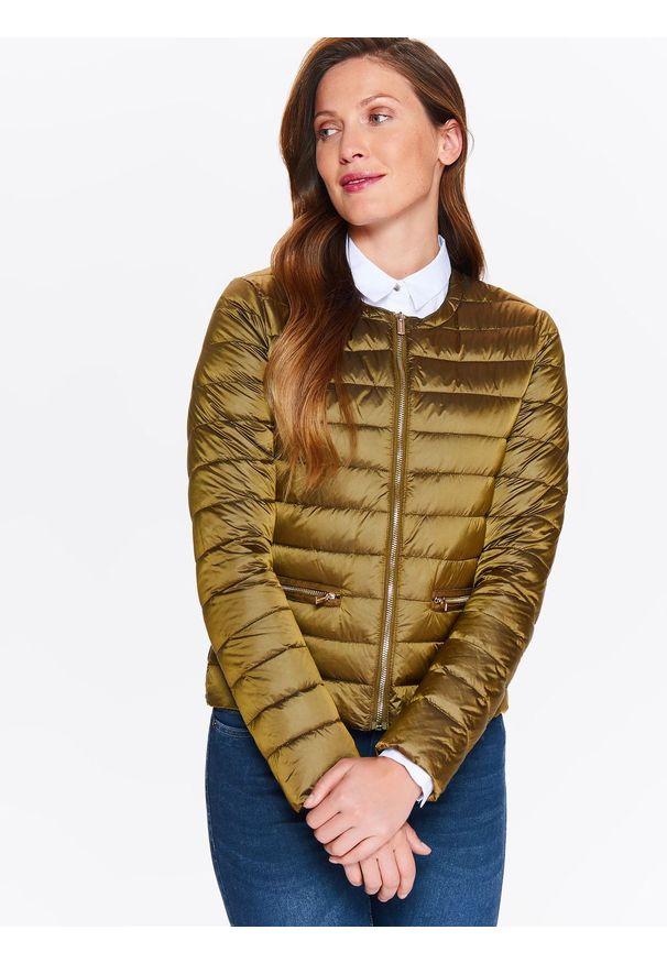 Złota kurtka TOP SECRET elegancka, w kolorowe wzory