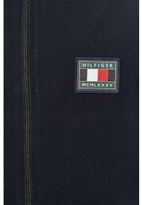 Niebieska bluza rozpinana TOMMY HILFIGER na co dzień, z aplikacjami, casualowa, bez kaptura