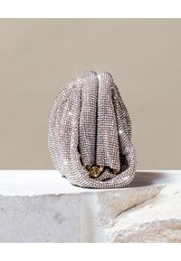 BENEDETTA BRUZZICHES - Srebrna torebka z kryształów Venus Small White Lady. Kolor: srebrny. Wzór: aplikacja. Rozmiar: małe. Styl: wizytowy, elegancki. Rodzaj torebki: do ręki