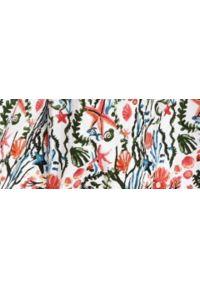 TOP SECRET - Bawełniana sukienka z gumką w pasie. Kolor: biały. Materiał: bawełna. Wzór: kwiaty, nadruk. Sezon: jesień. Typ sukienki: z odkrytymi ramionami. Styl: elegancki. Długość: maxi