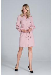 Figl - Koszulowa Sukienka Bawełniana z Długim Bufiastym Rękawem - Różowa. Kolor: różowy. Materiał: bawełna. Typ sukienki: koszulowe
