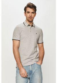 Szara koszulka polo Jack & Jones gładkie, krótka, casualowa, na co dzień