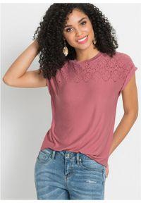 Fioletowa bluzka bonprix z krótkim rękawem, krótka, w ażurowe wzory