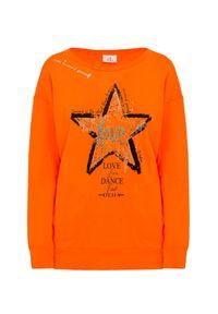 Pomarańczowa bluza Deha z nadrukiem, długa