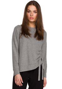MOE - Sweterek z Fantazyjnym Marszczeniem - Szary. Kolor: szary. Materiał: elastan, bawełna