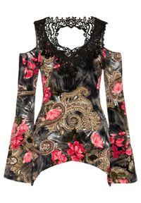 Shirt cold-shoulder z koronką bonprix czarno-różowy wzorzysty. Kolor: czarny. Materiał: koronka. Wzór: koronka