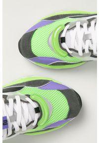 Zielone sneakersy Puma z okrągłym noskiem, z cholewką