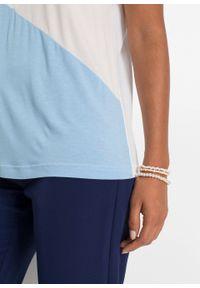 """Shirt """"color-blocking"""" bonprix biało-beżowo-jasnoniebieski. Kolor: biały. Długość rękawa: krótki rękaw. Długość: krótkie #3"""