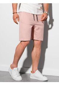 Ombre Clothing - Krótkie spodenki męskie dresowe W291 - różowe - XXL. Kolor: różowy. Materiał: dresówka. Długość: krótkie. Styl: klasyczny