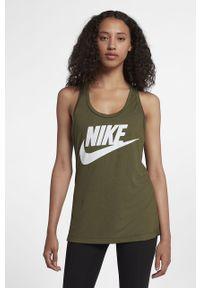 Oliwkowy top Nike z okrągłym kołnierzem, z nadrukiem