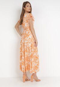 Born2be - Pomarańczowa Sukienka Nesyse. Kolor: pomarańczowy. Materiał: tkanina, materiał, guma. Długość rękawa: krótki rękaw. Typ sukienki: kopertowe. Długość: maxi