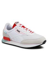 Sneakersy PUMA - Future Rider Neon Play 373383 09 Puma White/Poppy Red. Kolor: biały. Materiał: zamsz, materiał, skóra ekologiczna, skóra. Szerokość cholewki: normalna