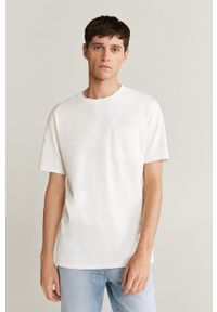 Biały t-shirt Mango Man casualowy, z okrągłym kołnierzem