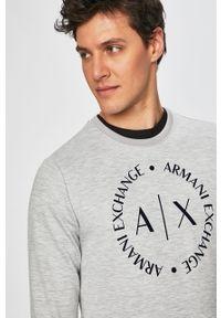 Szara bluza nierozpinana Armani Exchange z okrągłym kołnierzem, z nadrukiem