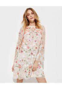 NEEDLE & THREAD - Sukienka mini z cekinami Harlequin Rose. Kolor: beżowy. Materiał: tiul. Wzór: kwiaty, aplikacja. Długość: mini